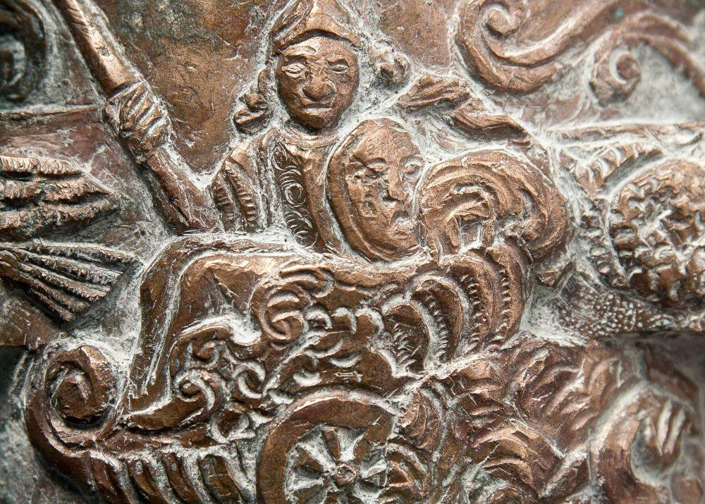Pallasz Athéné ábrázolása a mozsárágyúmodellen
